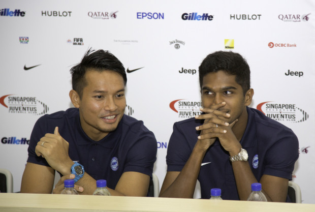 CHALLENGE ACCEPTED: Local players Hassan Sunny (L) and Hariss Harun are ready for the big test tomorrow night. (Photo: Ken Lu)
