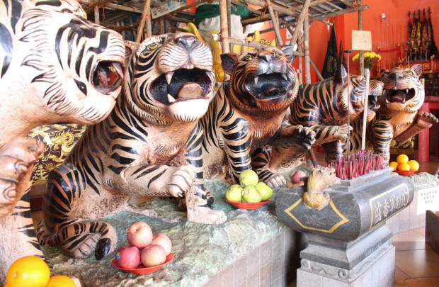 GUARDIAN ANGELS: Like the Five Tigers, Taoists worship these five deities for protection against backstabbers getting in the way of good fortune. An incense stick must be offered to each deity as a form of respect. (Photo: Emmanuel Phua)