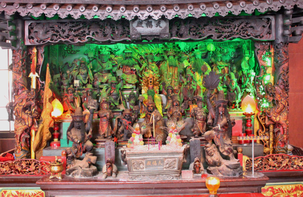 BOUNDLESS: Intricate shrines of different Chinese Gods stand in display, reflecting the diverse range of deities that encompass the Chinese culture. (Photo: Emmanuel Phua)