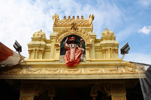 A PECULIAR NEIGHBOUR: Barely just a stone's throw away, the Sree Veeramuthu Muneeswarar Temple stands under the same roof with Hock Huat Keng Temple, showing that harmony can always be established. (Photo: Emmanuel Phua)