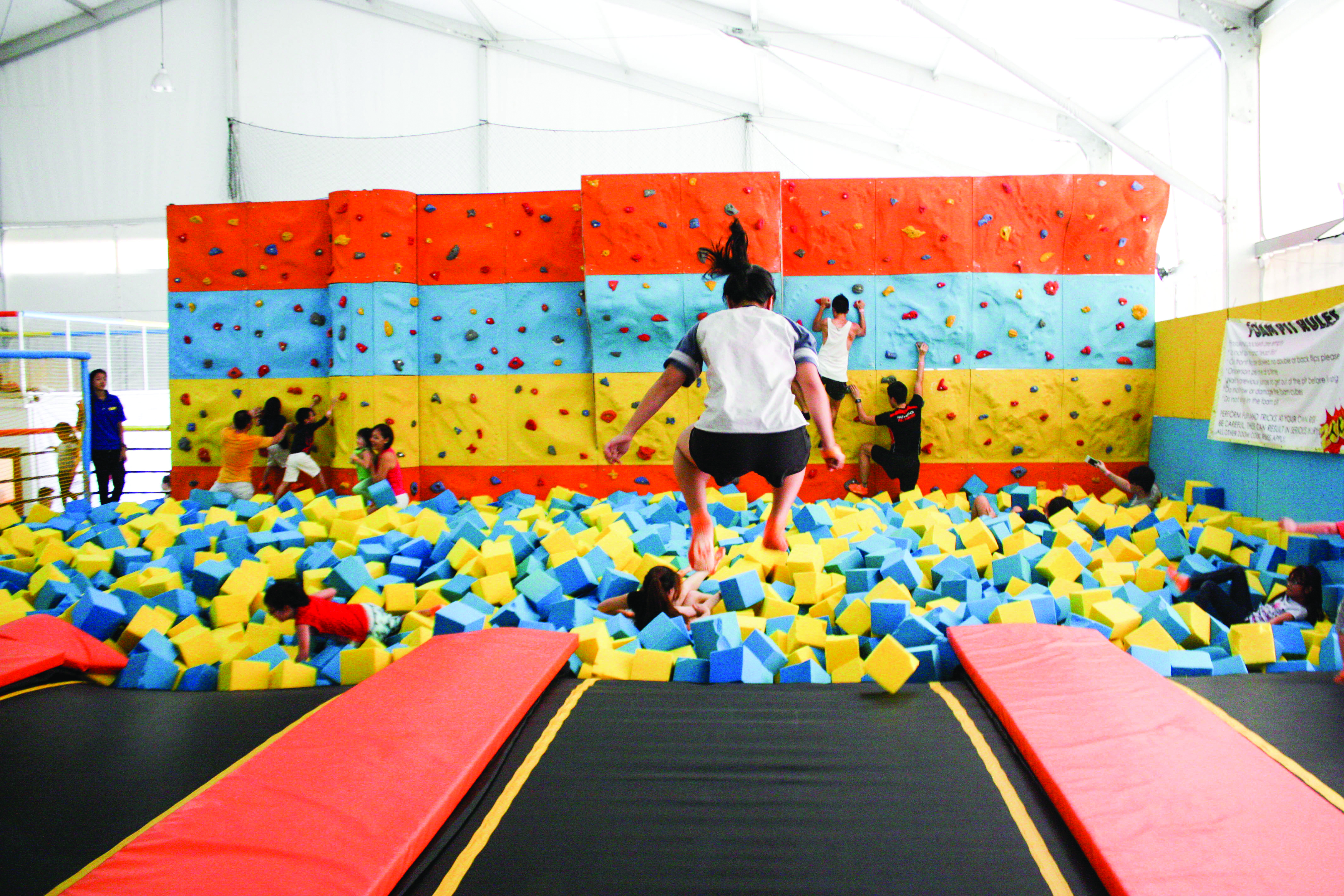 CANNONBALL: Bouncing off walls and trampolines is not only allowed, but also encouraged at the park's popular foam pit, where your fall would most definitely be cushioned.