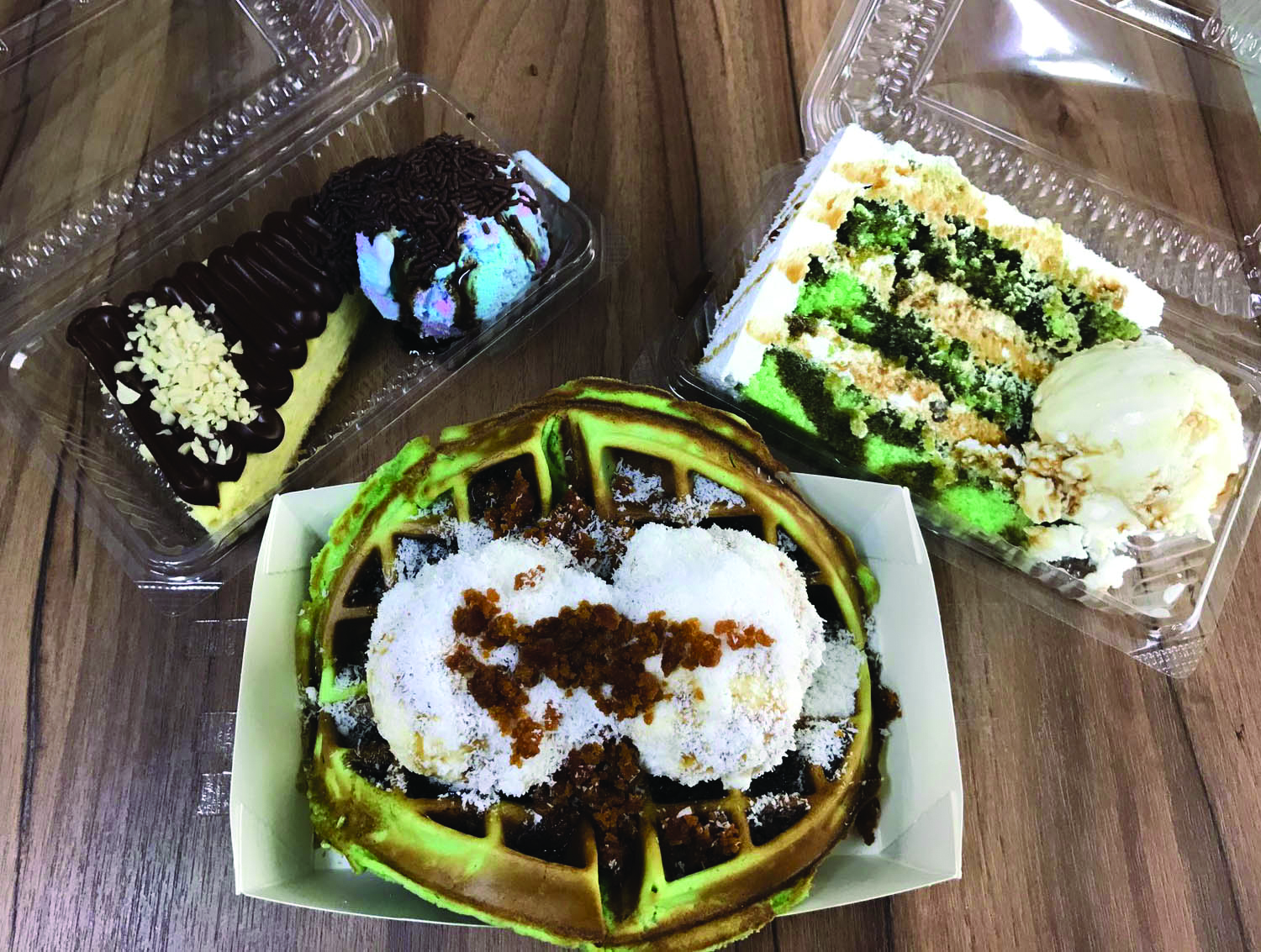 ONE IS NEVER ENOUGH: The Ondeh-Ondeh cake, Ondeh-Ondeh Waffle with Coconut ice-cream and Nutella cheesecake are the three must-try desserts which will make you regret nothing as it's filled with pure goodness. PHOTO: Arifah Rahmat